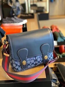 NWT Coach Heritage Map Bag In Signature Chambray