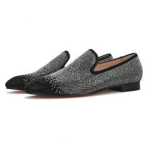 Merlutti Silver Loafer Black Rhinestones Tip Flat