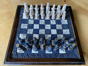 Vintage Aztec Mayan Black & White Hand Carved Art CHESS Set W Drawer Complete