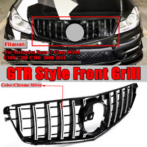 For Mercedes Benz C-Class W204 C200 C300 08-14 Front Grill Grille GT-R C63 Style