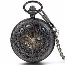 Vintage Hand Winding Mechanical Steampunk Skeleton Heart Cobweb Pocket Fob Watch