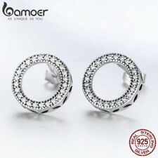 US Center Fine Women 925 Sterling silver Stud Earring Circle With AAA CZ Jewelry