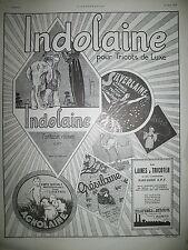 PUBLICITE DE PRESSE INDOLAINE TRICOT DE LUXE LAINE A TRICOTER FRENCH AD 1924