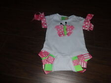 Boutique Mudpie Little Sprout 0-6 Butterfly One Piece Outfit