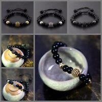 Men's Natural Bright Black Lava Zircon Micro Pave Round Beaded Macrame Bracelets