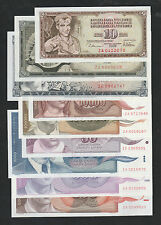 Set 9pcs Yugoslavia 50 to 100,000 Dinara (1978~93) REPLACEMENT #ZA-ZC - UNC