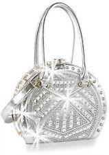 Designer A Frame Designer Bling Rhinestone  Handbag in Silver