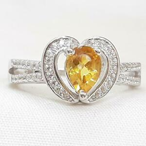 World Class 1.10ctw Golden Citrine & Diamond Cut White Sapphire 925 Silver Ring