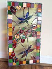 Stained Glass  Window Dragonfly Transom Suncatcher Summer Panel OOAK