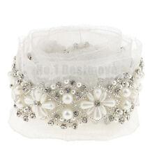 1Yard Beaded White Sewing Lace Trim Mesh Ribbon Applique Wedding Dress Craft