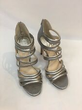Vince Camuto Fortuner Silver Textured Leather Strappy Open Toe Heels Sandals 8 M