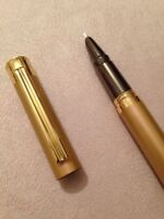 HERO 7037 SATIN GOLD/GOLD TRIM FINE NIB FOUNTAIN PEN-CONVERTER-UK SELLER.