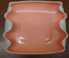 Red wing serving dish or center piece coral and gray B1406 1951 vintage pottery