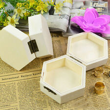 Handmade Unfinished Plain Wooden Jewelry Storage Box Case Gift Wood Craft US