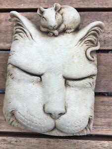 2009 Carruth Sleeping Cat Mouse Stone Garden  Plaque Tile