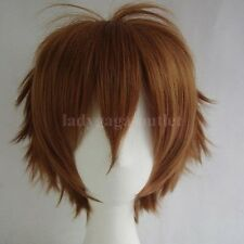 Women Mens Cosplay Cool Short Straight Hair Wig Anime Dress Full Wig Light Brown