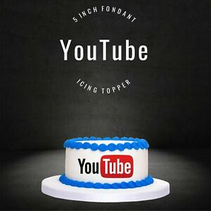"""PRE CUT 5"""" YouTube Edible Icing Logo Cake Topper Decorations Birthday"""