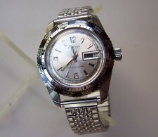 Vintage MARCEL World-Time Bezel 5ATM Telemetre Swiss Men's Wristwatch Stainless