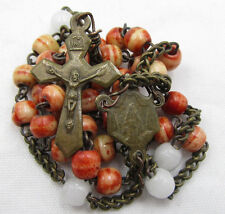 """†  ANTIQUE """"CROWN OF OUR LORD"""" BLOOD RED DYED GENUINE BOVINE ROSARY CHAPLET †"""