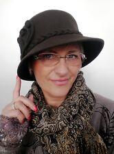 Damen Hut dunkelbraun elegant Damenhüte Damenmütze Anlasshüte Wolle Herbst