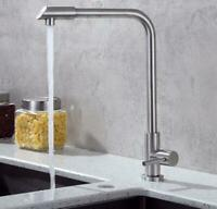 Lead-Free Kitchen Sink Water Faucet Single Cold Handle Hole Bar Brushed Tap