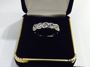 Sterling silver and Swarovski  Pave crystals wedding,anniversary band Size 9