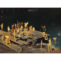 Bellows Forty-two Kids Swimming Bathing Bathroom Painting Large Canvas Art Print