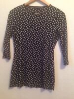 M&S Collection Black Stretchy 3/4 Sleeve Top, Floral Pattern, Size 10 <BC101