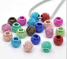 100pcs New gorgeous  Mixed color  Mesh Spacer Beads Fit Charm Bracelet 12x10mm