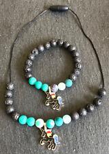 Calming Black Unicorn Diffuser Necklace and Bracelet Set - Natural Stones Lava