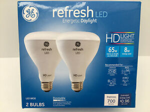Ge Refresh LED Daylight BR30 Dimmable 65w Replacement 8w 700 Lumens 2 Bulbs