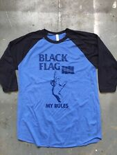 Black Flag My Rules Baseball T-shirt Size L Never Worn
