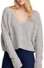 People Moonbeam Sweater Top Size M Ribbed Alpaca Blend Gray B23