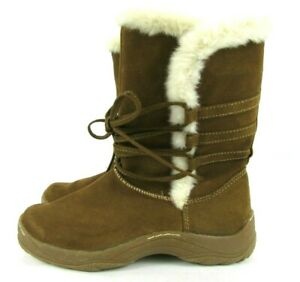 MERONA Women's Size 6 M Camel Tan Suede Leather Faux Sherpa Lined Lace Up  Boots