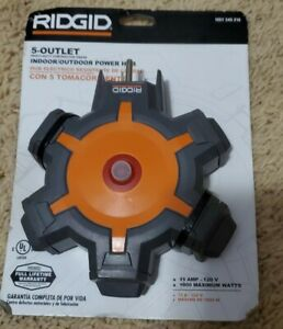 Ridgid 36009 5-Outlet Extension Cord Hub Heavy Duty Contractor Surge Protector