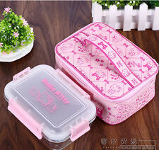 Hello Kitty Glass Lunch Box Food Container Microwave Oven Bento include Bag