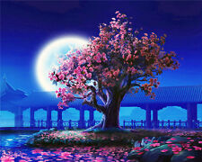 "16X20"" DIY Paint By Number Kit Oil Painting On Canvas Flower Tree Night SPA1810"