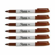 Sharpie Fine Point Permanent Marker Brown 6 Each