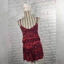 661e8ed7700b LA Hearts Red Black Boho Patterened Romper Lace Trim Size Medium