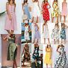 Women's Boho Midi Maxi Dress Spaghetti Strap Casual Beach Holiday Dress Sundress