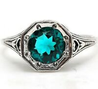 2CT Apatite 925 Solid Sterling Silver Edwardian Look Ring Jewelry Sz 6, PR32