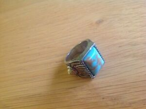 A REALLY Nice 'Turquoise' silver-toned Signet Ring size T see photo's