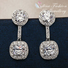 18K White Gold Plated Simulated Diamond Studded Sparkling Double Round Earrings