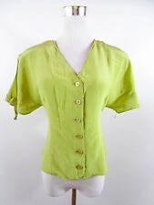 Vtg 70s Italian Design Womens Green Silk Elegant Formal Wedding Blouse sz L BH31