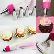 2 Colors Pastry Cake Decorating Icing Piping Striper Bag with 5 Nozzles Handy