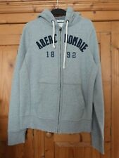 Mens  Grey ABERCROMBIE & FITCH Applique   Distressed Zipped Hoodie Size Medium