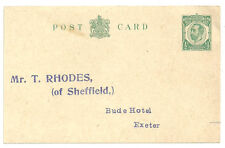 1/2D Green George V Post Card T Rhodes Sheffield Bude Hotel Exeter Unused Round