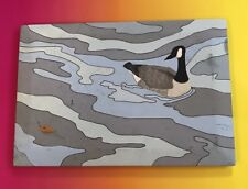 "Bob Wolf Painting On Board Canada Goose And Ladybug ""adrift"" Geese Canadian"