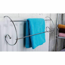 Stylish Curved Chrome Radiator Hanging Towel Rail Handy Toll For All Washing New