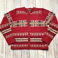 Eddie Bauer Womens Sweater Medium Tall Lambs Wool Cardigan Red Button Front